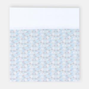 KraftKids Stilltuch Uniweiss und kleine Dreiecke blau grau wei?