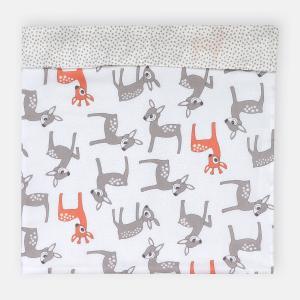 KraftKids Stilltuch kleine Rehkitze grau orange auf Weiß und graue unregelmäßige Punkte auf Weiß