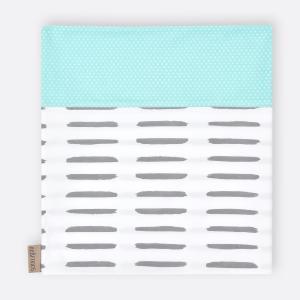KraftKids Stilltuch weiße Punkte auf Mint und graue Striche auf Weiß