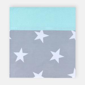 KraftKids Stilltuch große weiße Sterne auf Grau und weiße Punkte auf Mint