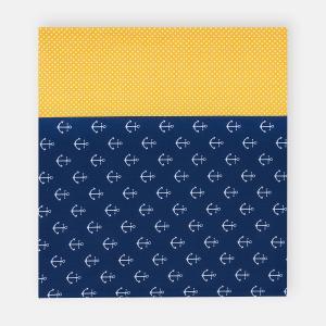 KraftKids Stilltuch weiße Anker auf Dunkelblau und weiße Punkte auf Gelb