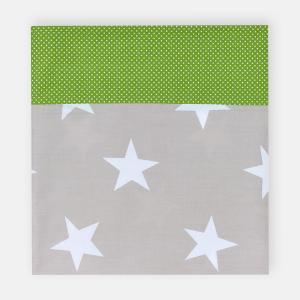 KraftKids Stilltuch große weiße Sterne auf Beige und weiße Punkte auf Grün