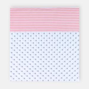 KraftKids Stilltuch graue Punkte auf Weiss und Streifen rosa