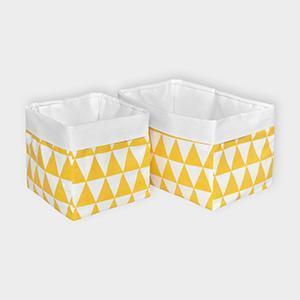 KraftKids Körbchen Uniweiss und gelbe Dreiecke 20 x 20 x 20 cm