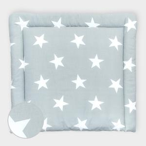 miniFifia Wickelauflage große weiße Sterne auf Grau breit 60 x tief 70 cm passend für Waschmaschinen-Aufsatz von KraftKids