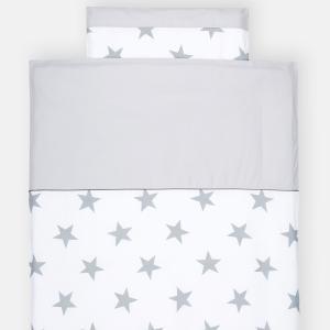 KraftKids Bettwäscheset große graue Sterne auf Weiss und Unigrau 140 x 200 cm, Kissen 80 x 80 cm