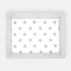 KraftKids Krabbeldecke große graue Sterne auf Weiss und Unigrau