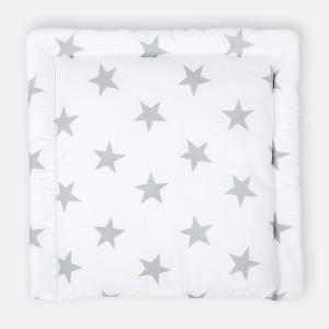 KraftKids Wickelauflage große graue Sterne auf Weiss breit 78 x tief 78 cm z. B. für MALM oder HEMNES Kommodenaufsatz von KraftKids
