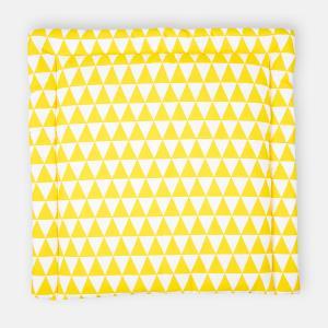 KraftKids Wickelauflage gelbe Dreiecke breit 78 x tief 78 cm z. B. für MALM oder HEMNES Kommodenaufsatz von KraftKids