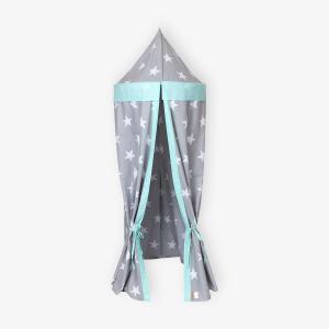 KraftKids Hängezelt große weiße Sterne auf Grau und weiße Punkte auf Mint Baldachin