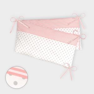 KraftKids Nestchen graue Punkte auf Weiss und Streifen rosa Nestchenlänge 60-60-60 cm für Bettgröße 120 x 60 cm