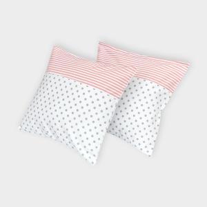KraftKids Kissenbezug graue Punkte auf Weiss und Streifen rosa