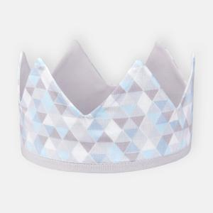 KraftKids Stoffkrone Unigrau und kleine Dreiecke blau grau weiß