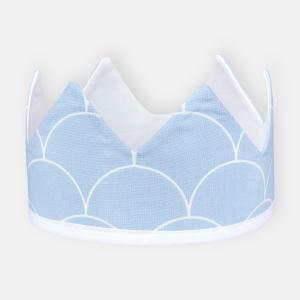 KraftKids Dekoration Stoffkrone weiße Halbkreise auf Pastelblau