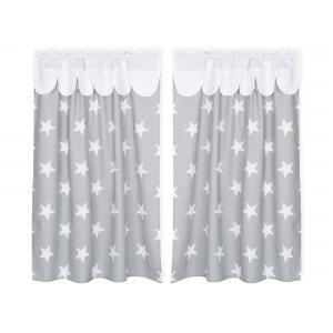 KraftKids Hochbettvorhänge große weiße Sterne auf Grau und Uniweiss Inhalt: 2 Schals