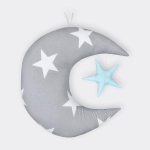KraftKids Dekoration Mond und Stern große graue Sterne auf Weiss und weiße Punkte auf Mint