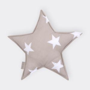 KraftKids Sternkissen große weiße Sterne auf Beige