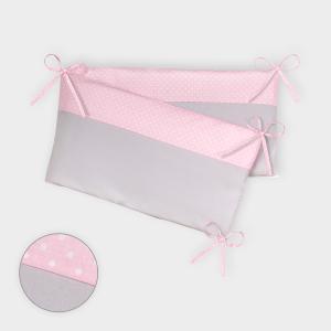 KraftKids Nestchen Unigrau und weiße Punkte auf Rosa Nestchenlänge 60-60-60 cm für Bettgröße 120 x 60 cm