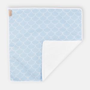KraftKids Wickelunterlage weiße Halbkreise auf Pastelblau 3 Lagen wasserundurchlässig weich Frotte 100% Baumwolle