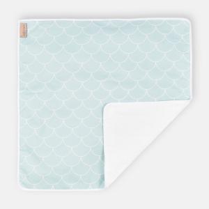 KraftKids Wickelunterlage weiße Halbkreise auf Pastelmint 3 Lagen wasserundurchlässig weich Frotte 100% Baumwolle