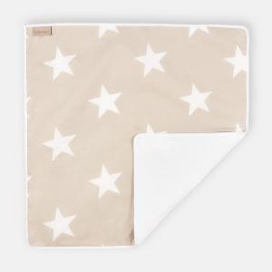 KraftKids Wickelunterlage große weiße Sterne auf Beige 3 Lagen wasserundurchlässig weich Frotte 100% Baumwolle
