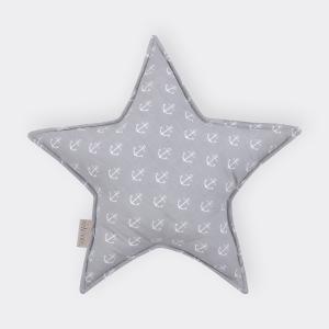 KraftKids Sternkissen weiße Anker auf Grau