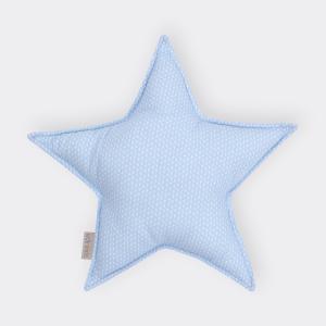 KraftKids Dekoration Sternkissen kleine Blätter hellblau auf Weiß