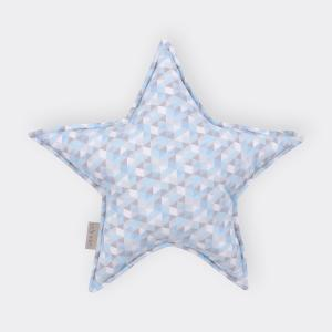 KraftKids Sternkissen kleine Dreiecke blau grau weiß