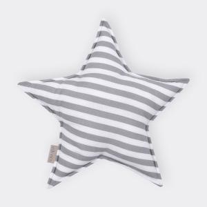KraftKids Dekoration Sternkissen dicke Streifen grau