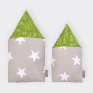 KraftKids Stoffhäuschen große weiße Sterne auf Beige und weiße Punkte auf Grün Inhalt: ein kleines und großes Häuschen