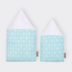 KraftKids Stoffhäuschen weiße Pfeile auf Mint und Uniweiss Inhalt: ein kleines und großes Häuschen