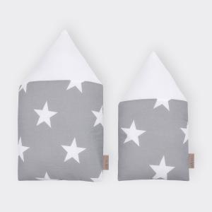 KraftKids Stoffhäuschen große weiße Sterne auf Grau und Uniweiss Inhalt: ein kleines und großes Häuschen