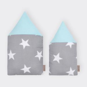 KraftKids Stoffhäuschen große weiße Sterne auf Grau und weiße Punkte auf Mint Inhalt: ein kleines und großes Häuschen