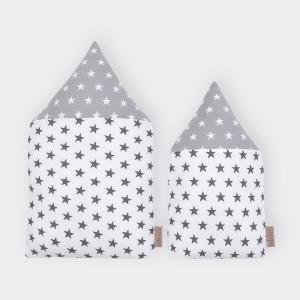 KraftKids Stoffhäuschen kleine weiße Sterne auf Grau und kleine graue Sterne auf Weiss Inhalt: ein kleines und großes Häuschen