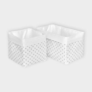 KraftKids Körbchen Uniweiss und graue Punkte auf Weiss 20 x 20 x 20 cm
