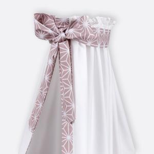 KraftKids Betthimmel weiße Diamante auf Cameo Rosa