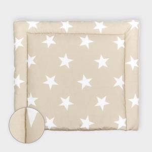 KraftKids Wickelauflage große weiße Sterne auf Beige 85 cm breit x 75 cm tief