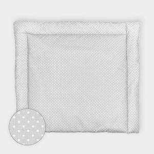 KraftKids Wickelauflage weiße Punkte auf Grau 85 cm breit x 75 cm tief