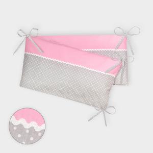 KraftKids Nestchen Unirosa und weiße Punkte auf Grau Nestchenlänge 60-60-60 cm für Bettgröße 120 x 60 cm