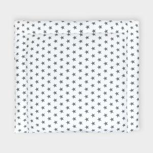 KraftKids Wickelauflage kleine graue Sterne auf Weiss 85 cm breit x 75 cm tief
