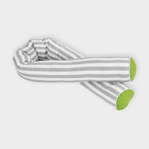 KraftKids Bettrolle weiße Punkte auf Grün und dicke Streifen grau Stärke: 10 cm, Rollenlänge 200 cm