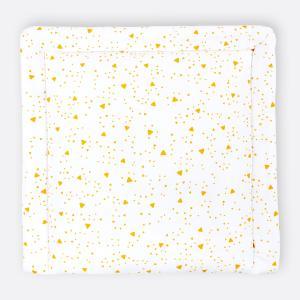 KraftKids Wickelauflage abgerundete Dreiecke gelb breit 78 x tief 78 cm z. B. für MALM oder HEMNES Kommodenaufsatz von KraftKids