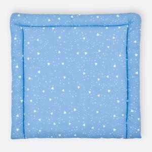 KraftKids Wickelauflage abgerundete Dreiecke weiß auf Blau breit 78 x tief 78 cm z. B. für MALM oder HEMNES Kommodenaufsatz von KraftKids