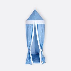 KraftKids Hängezelt abgerundete Dreiecke weiß auf Blau Baldachin