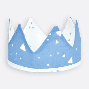 KraftKids Dekoration Stoffkrone abgerundete Dreiecke weiß auf Blau