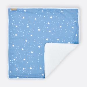 KraftKids Wickelunterlage abgerundete Dreiecke weiß auf Blau 3 Lagen wasserundurchlässig weich Frotte 100% Baumwolle