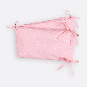 KraftKids Nestchen abgerundete Dreiecke weiß auf Rosa Nestchenlänge 60-60-60 cm für Bettgröße 120 x 60 cm