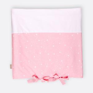 KraftKids Bezug für Wickeltischauflage abgerundete Dreiecke weiß auf Rosa
