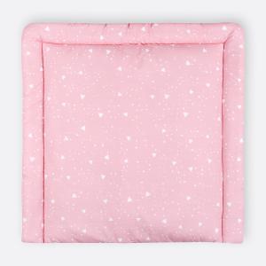 KraftKids Wickelauflage abgerundete Dreiecke weiß auf Rosa breit 78 x tief 78 cm z. B. für MALM oder HEMNES Kommodenaufsatz von KraftKids