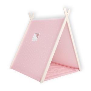KraftKids Spielzelt abgerundete Dreiecke weiß auf Rosa